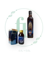 Набор (100ml + 500ml) масло ЧЁРНОГО ТМИНА от Hemani   стекло+пластик