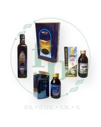Набор 4в1 (100ml+125ml+500ml+1L) масло ЧЁРНОГО ТМИНА от Hemani   стекло+стекло+пластик + жесть